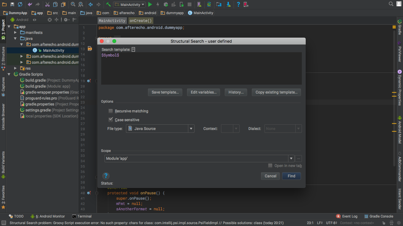 Structural Search and Replace in Android Studio - AfterEcho